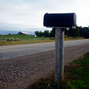 Mailbox on a country road