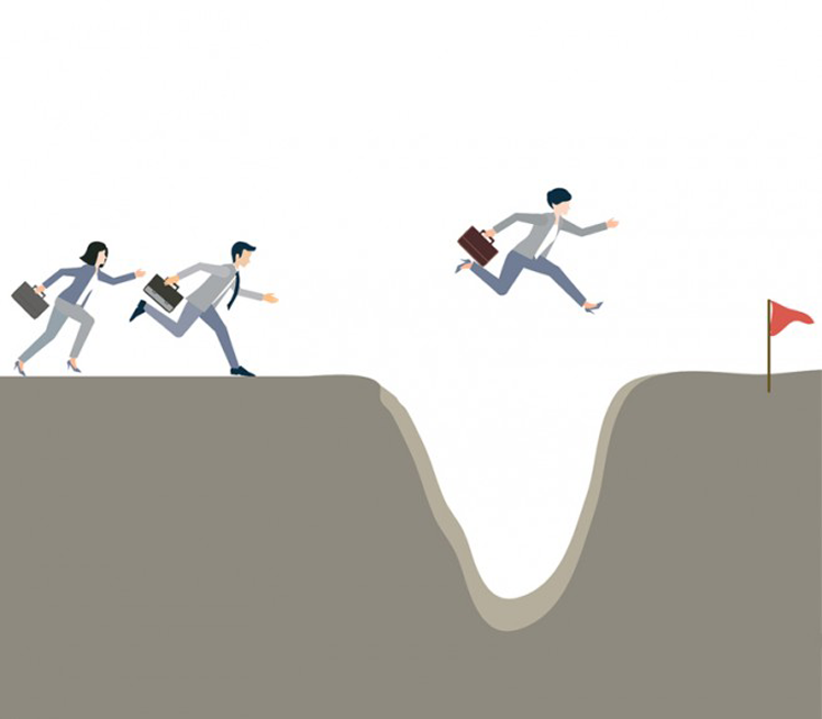 Cartoon of woman leaping a chasm