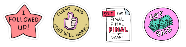 Freelance Achievement Stickers By Jeremy Nguyen