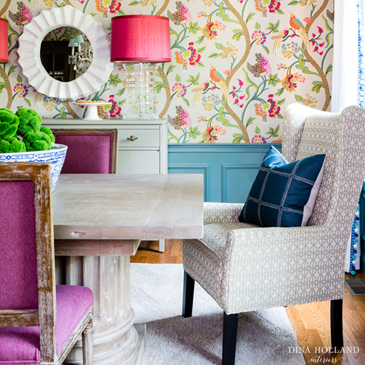 Colourful dining room by Dina Holland Interiors